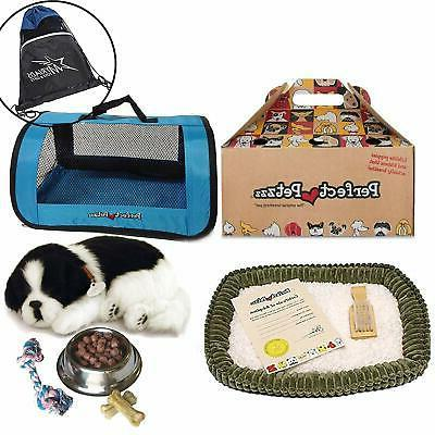 Chew Toy Includes Myriads Drawstring Bag Treats Blue Tote Plush Breathing Pet Perfect Petzzz Border Collie Breathing Pet Dog Food